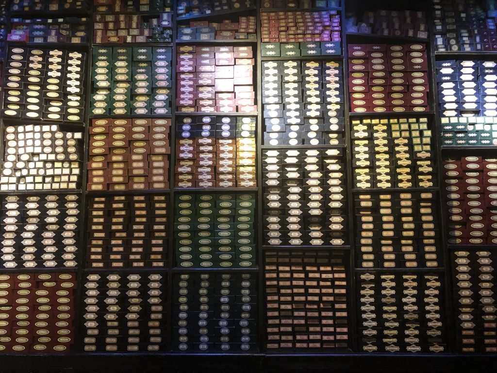 A wall full of Harry Potter Wands on the WB tour