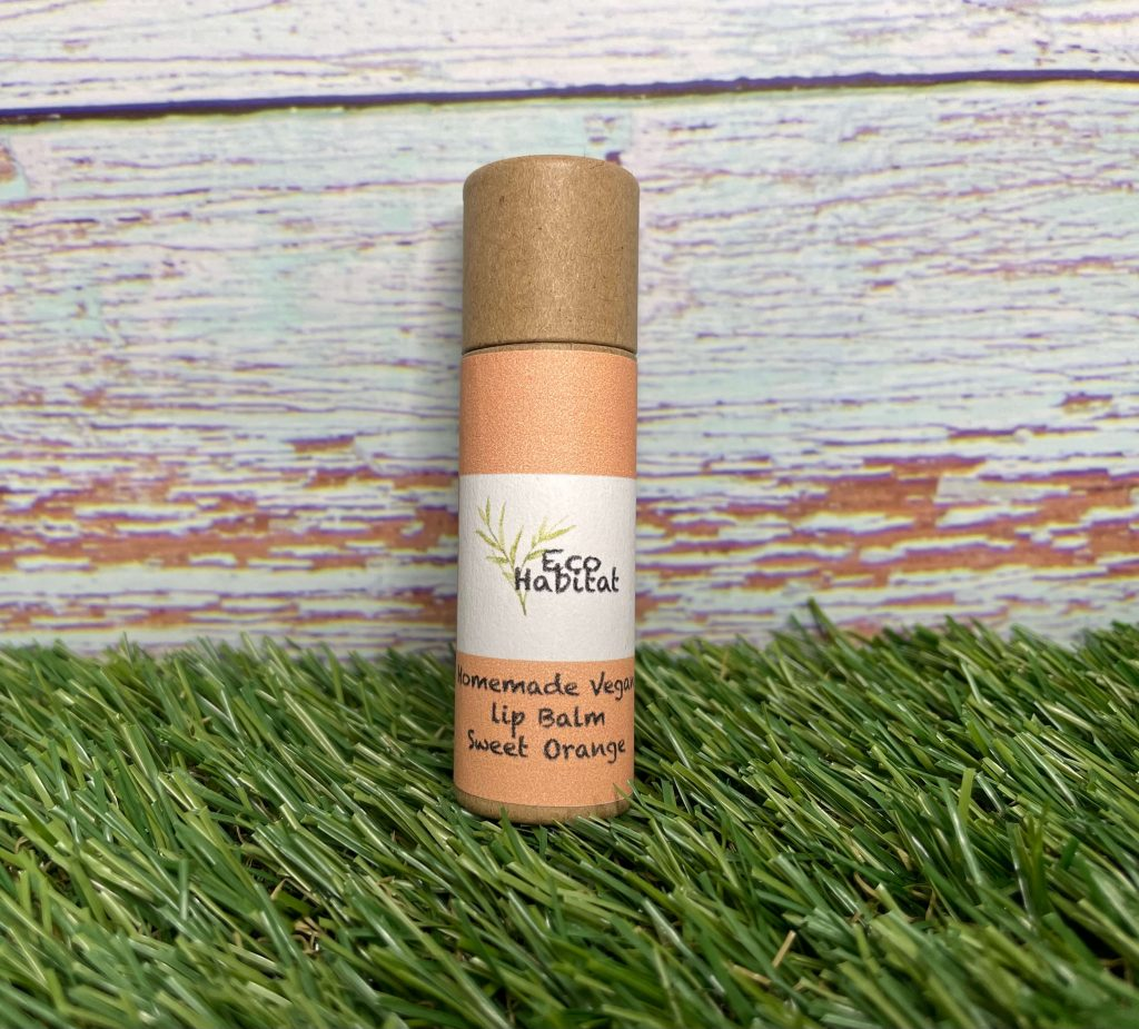 Mental Health Awareness Week Giveaway Goodies! An eco-friendly lip balm in cardboard packaging is sat on grass against a blue wooden fence